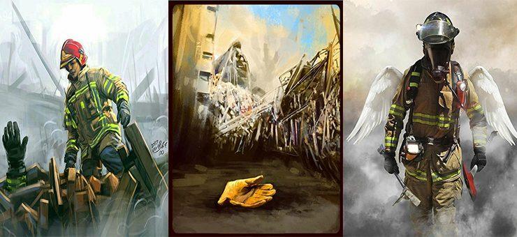 ببینید؛ گالری منتخب طرح های هنرمندان برای آتش نشانان قهرمان حادثه پلاسکو