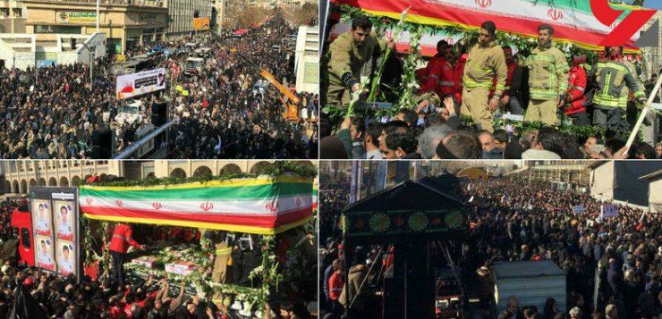 گزارش تصویری بدرقه باشکوه ۱۶ آتشنشان شهید پلاسکو روی دوش مردم تهران